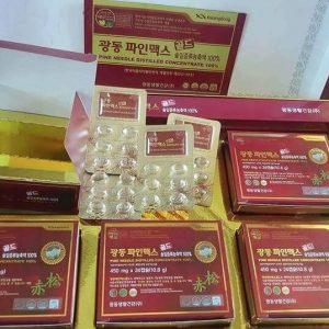 Pine Needle Distilled Concentrate Oil 100 % Tinh Dầu Thông Đỏ Kwangdong Hàn Quốc 120 Viên